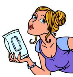 Woman with a pack wet wipes vector