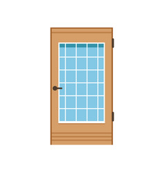 wooden entrance door with glass closed elegant vector image