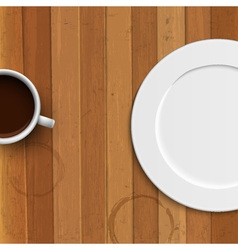 Dinner plate and coffee cup on wooden background vector image vector image