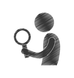 Drawing man with search figure pictogram vector