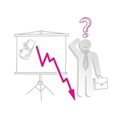 Financial crisis Confused business man shows vector image