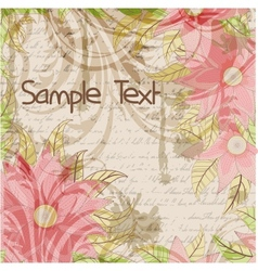 Floral grungy background with a handwriting and vector image vector image