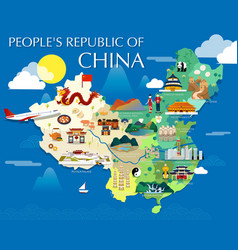 peoples republic of china map with colorful vector image vector image