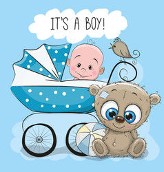Baby boy with baby carriage and teddy bear vector