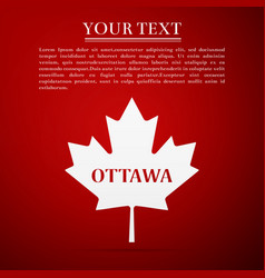 canadian maple leaf with city name ottawa vector image vector image