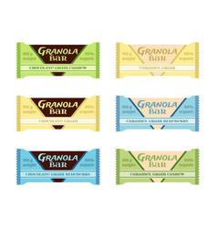 granola bars chocolate caramel with grain berries vector image vector image