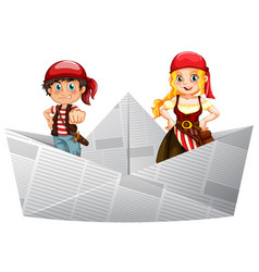 pirate crews standing on paper boat vector image vector image