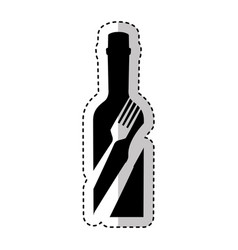 Bottle with cutlery tool icon vector