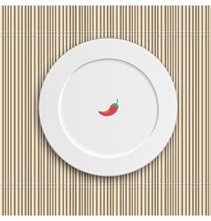 Dinner plate on bamboo napkin vector