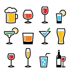 Drink colorful alcohol beverage icons set vector image