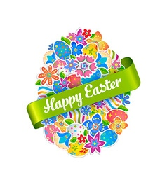 Easter Symbol Egg and Spring flower2 vector image vector image