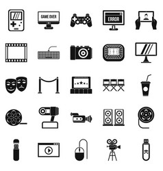 interesting show icons set simple style vector image