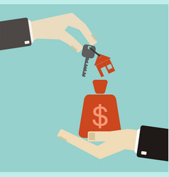 real estate concept hands with keys and money vector image