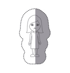 sticker silhouette caricature sad woman with vector image vector image