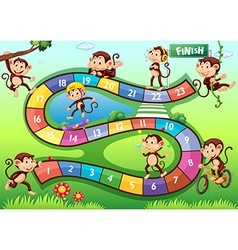 Boardgame with monkeys in different actions vector image vector image