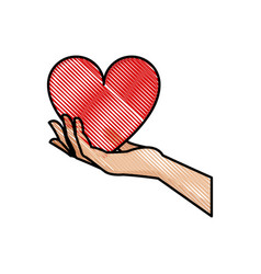 drawing hand holding heart blood donation symbol vector image vector image