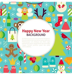Flat happy new year pattern background vector
