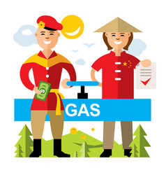 gas pipeline russia - china flat style vector image