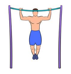 man pulling up on horizontal bar icon cartoon vector image