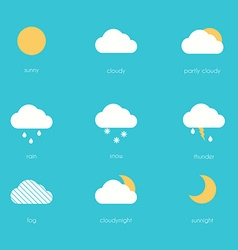 Weather icons modern flat creative info graphics vector image vector image