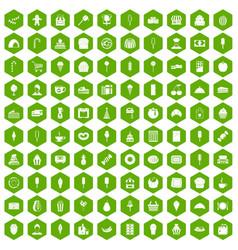 100 dessert icons hexagon green vector