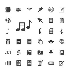 33 note icons vector image