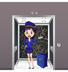 A flight stewardess inside the elevator vector