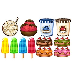 A group of desserts vector image