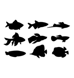 Aquarium set fish silhouette vector