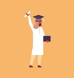 Arabic man hold diploma certificate student cap vector