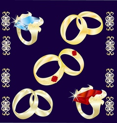 Assortment of precious rings vector