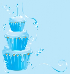 Baby boy cupcake birthday vector