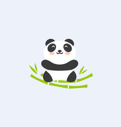 baby panda in bamboo nest funny and cute asian vector image