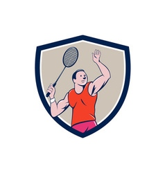 Badminton Player Racquet Striking Crest Cartoon vector