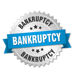 Bankruptcy 3d silver badge with blue ribbon vector