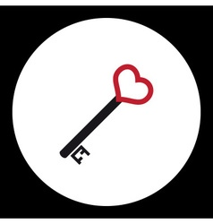 Black nad red isolated simple old door key with vector