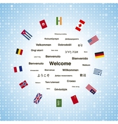 Black welcome phrases in different languages of vector image