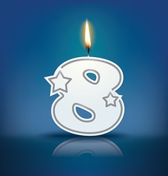 Candle number 8 with flame vector