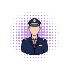 Captain of the aircraft comics icon vector image