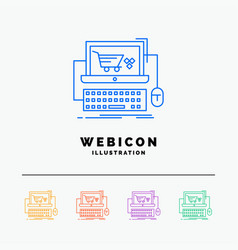 cart online shop store game 5 color line web icon vector image
