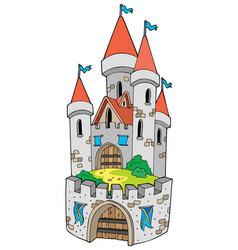 Cartoon castle with fortification vector