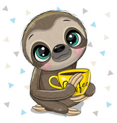 Cartoon sloth with a yellow cup coffee vector