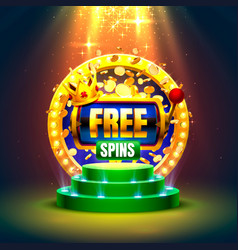 Casino free spins 777 slot sign machine vector