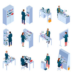 Chemical laboratory isometric icons set vector