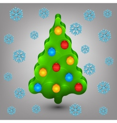Christmas tree with toys Snow vector image