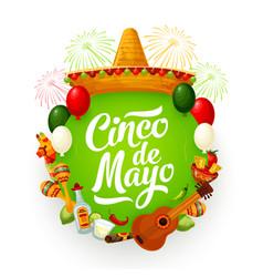 Cinco de mayo sombrero mexican food guitar vector