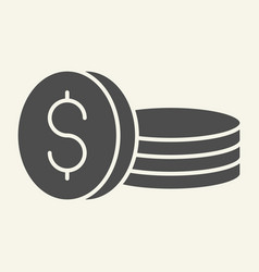 coins solid icon dollars vector image