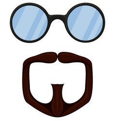 colorful cartoon goatee glasses set vector image