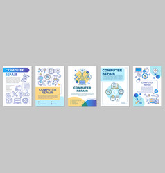 Computer repair brochure template layout vector
