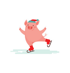 cute pig ice skating winter sport vector image